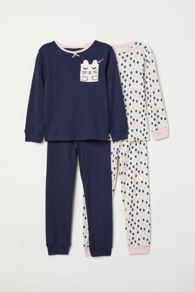 2-pack jersey pyjamas - Dark blue/Cat - Kids | H&M CN