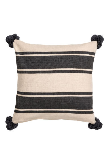 Cushion Cover with Tassels - Natural white/black striped - Home All | H&M CA