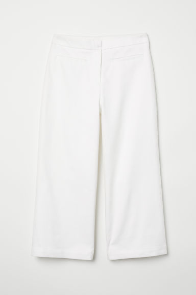 Cropped twill trousers - White -  | H&M