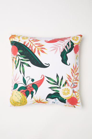 Slub-weave cushion cover - White/Fruit -  | H&M CN