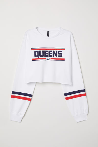 Sweat court avec impression - Blanc/Queens - FEMME | H&M FR