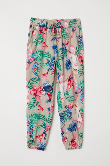 Patterned pull-on trousers - Beige/Cockatoos - Kids | H&M CN