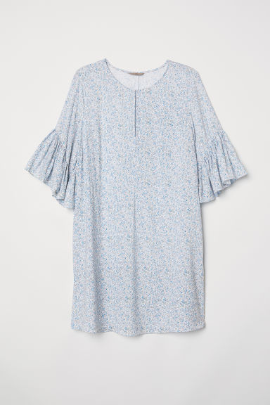 H&M+ Flounce-sleeved dress - White/Blue floral - Ladies | H&M