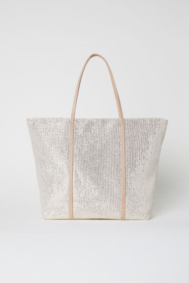 Straw bag - Light beige/Glittery -  | H&M