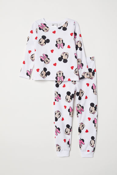 Jersey pyjamas - White/Minnie & Mickey Mouse - Kids | H&M