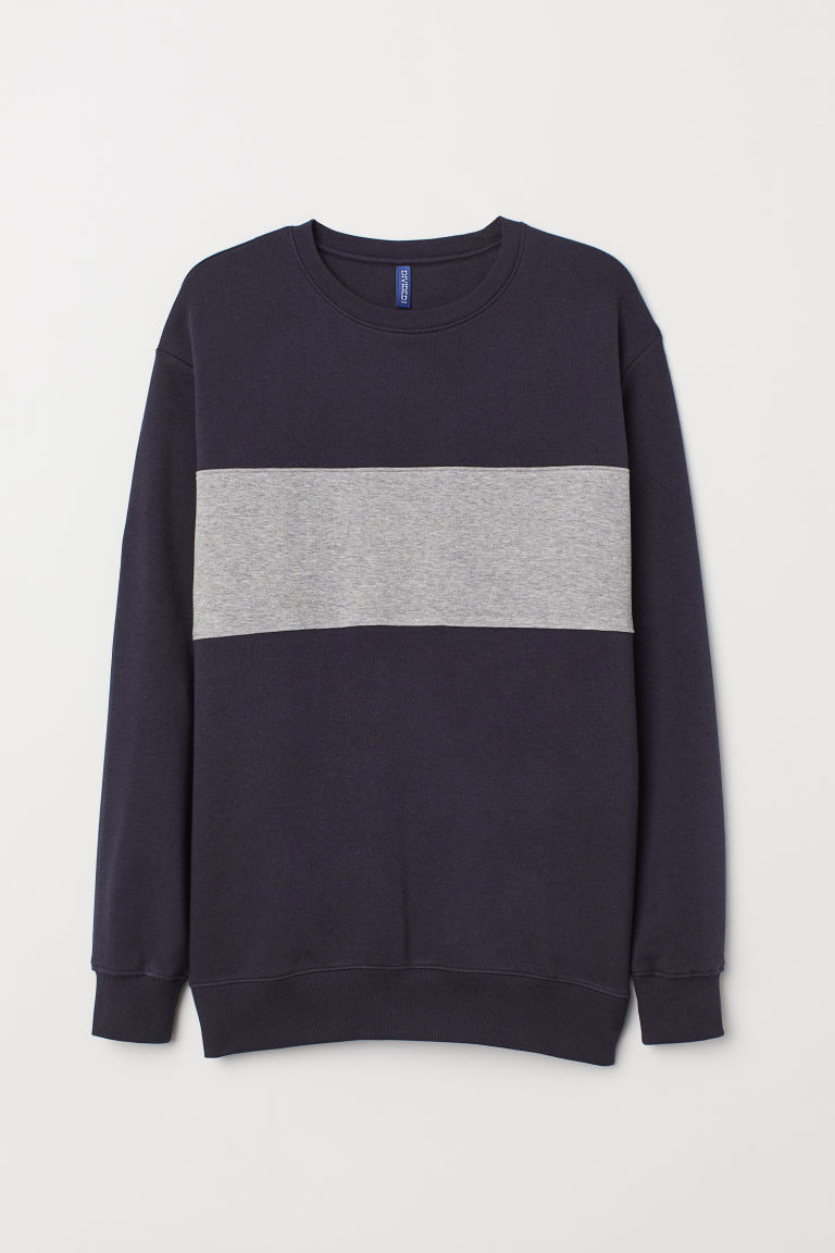 Felpa color block - Blu scuro/grigio mélange - UOMO | H&M IT
