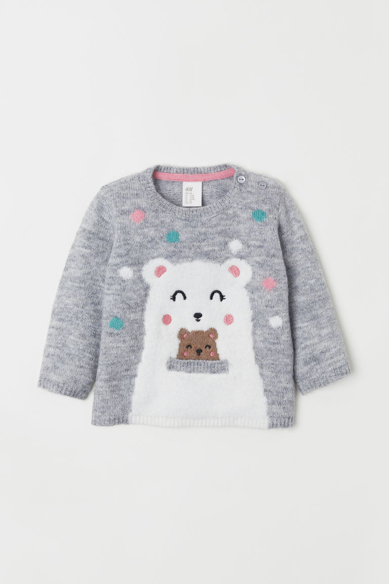 Jacquard-knit jumper - Light grey marl/Polar bear - Kids | H&M