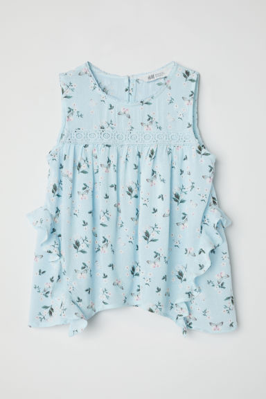 Crinkled blouse - Light turquoise -  | H&M