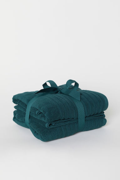 2-pack Bath Towels - Dark green - Home All | H&M US