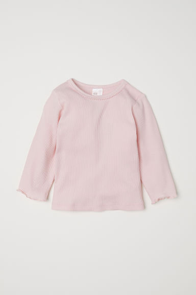 Ribbed jersey top - Light pink - Kids | H&M CN