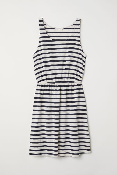 Sleeveless jersey dress - Natural white/Blue striped - Ladies | H&M