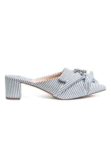 Mules with sparkly decoration - Dark blue/White striped -  | H&M CN