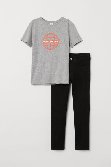 T-shirt and Skinny Fit Jeans - Black/Light grey - Kids | H&M CN