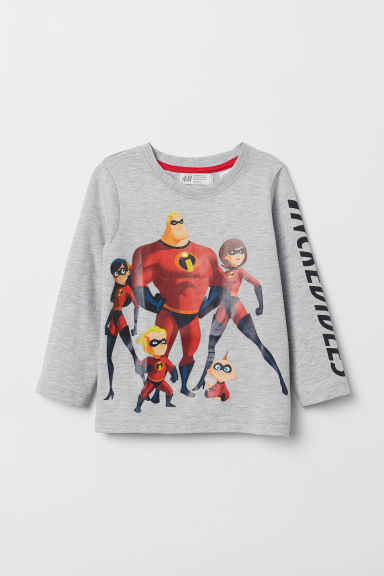 Printed jersey top - White/The Incredibles - Kids | H&M CN