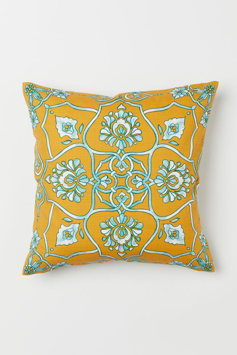 Slub-weave cushion cover - Dark yellow/Patterned - Home All | H&M CN