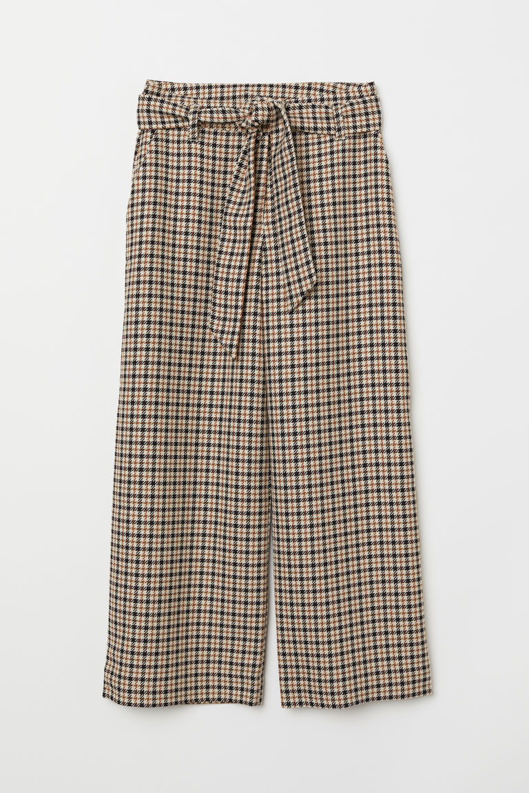 Checked paper bag trousers - Beige/Checked - Ladies | H&M GB
