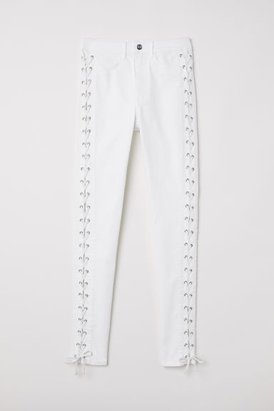 Twill trousers with lacing - White -  | H&M