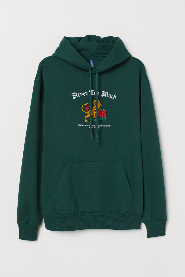 Hooded top with a motif - Dark green/Never Too Much - Men | H&M