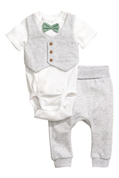 Bodysuit and trousers - Light grey - Kids | H&M CN