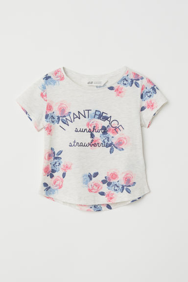 Printed jersey top - Light grey/I Want Peace - Kids | H&M