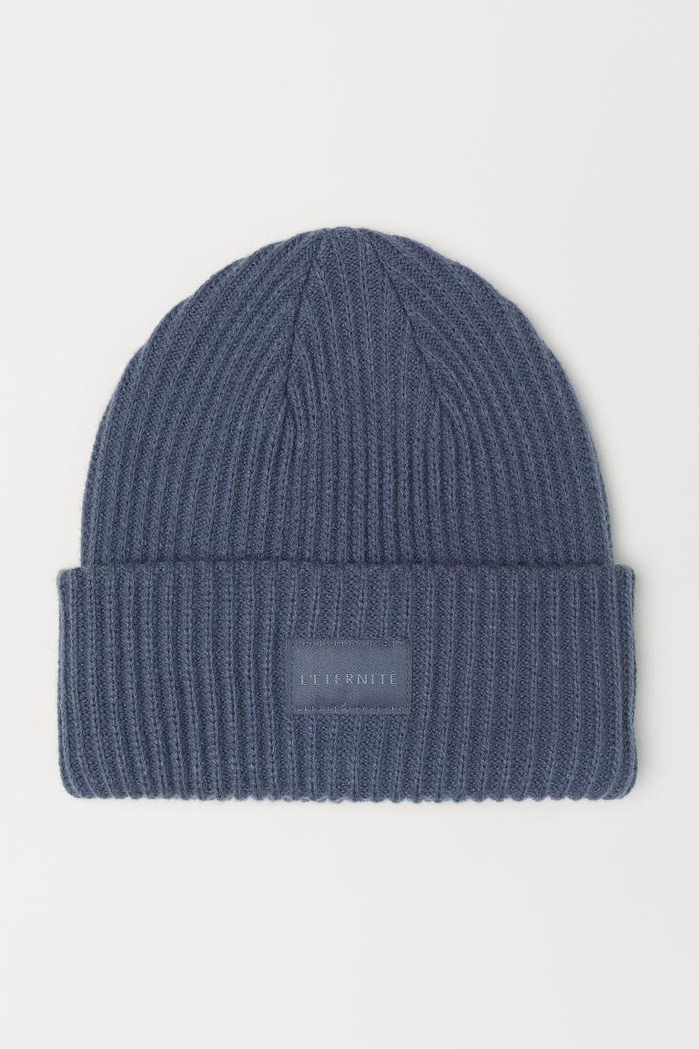 Ribbed hat - Grey-blue -  | H&M