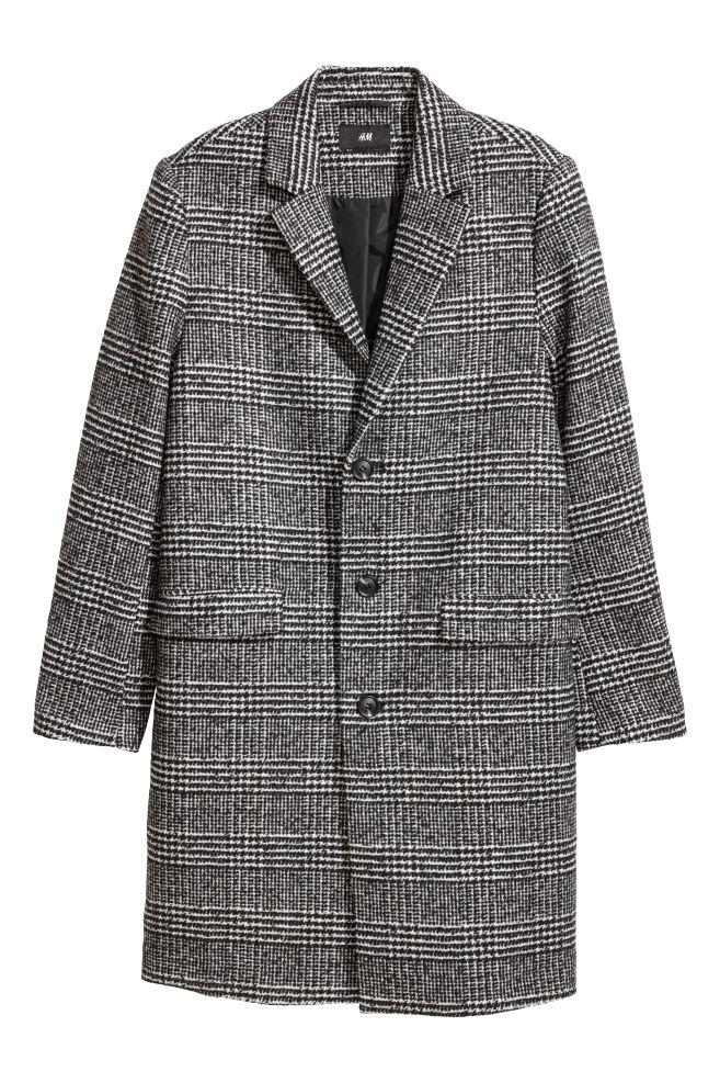 7c112fc072bab Manteau en laine mélangée - Gris carreaux - HOMME   H M ...
