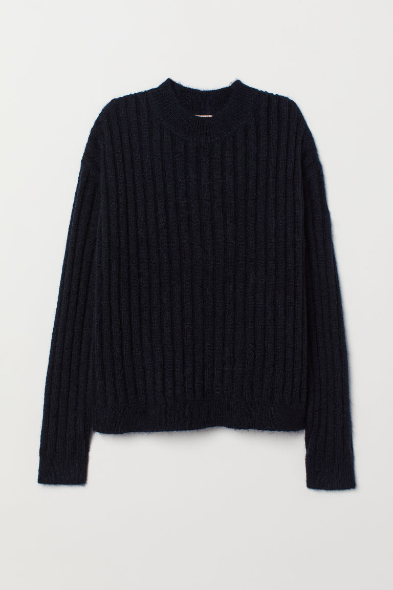 Knitted wool-blend jumper - Dark blue - Ladies | H&M CN