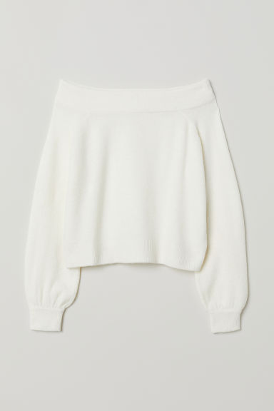 Off-the-shoulder jumper - White -  | H&M