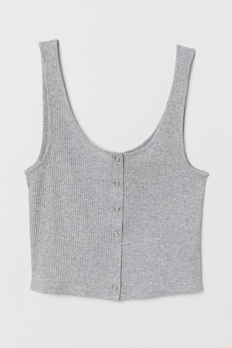 Tank Top with Snap Fasteners - Gray melange -  | H&M US
