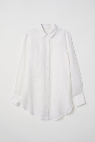 Linen shirt - White - Ladies | H&M