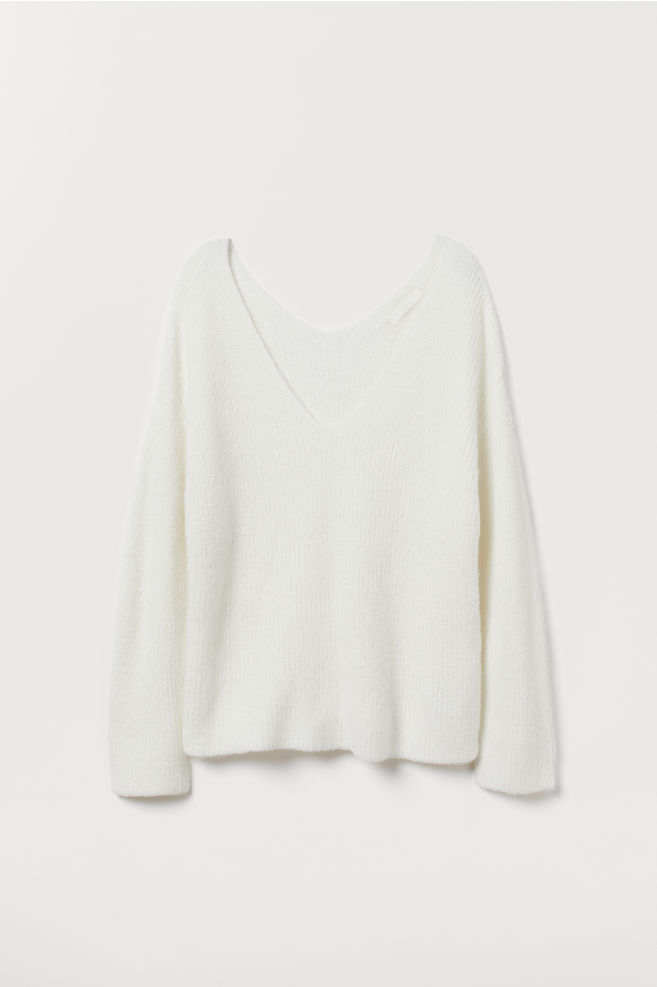 76f4fbc780feb6 V-neck Sweater - White - | H&M ...