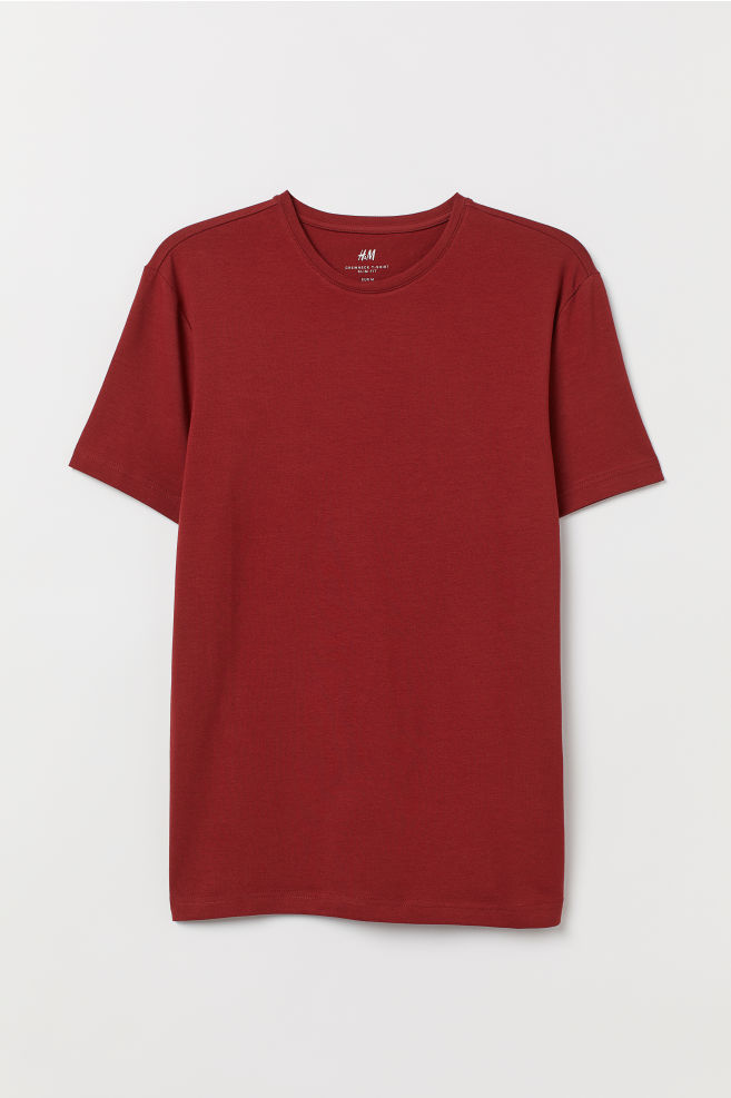 37981312198a Crew-neck T-shirt Slim fit - Rust red - Men | H&M US