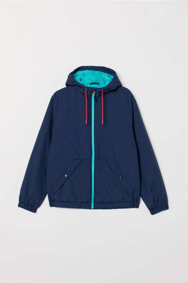 704ad968 Vattert jakke - Mørk blå/Turkis - HERRE | H&M ...