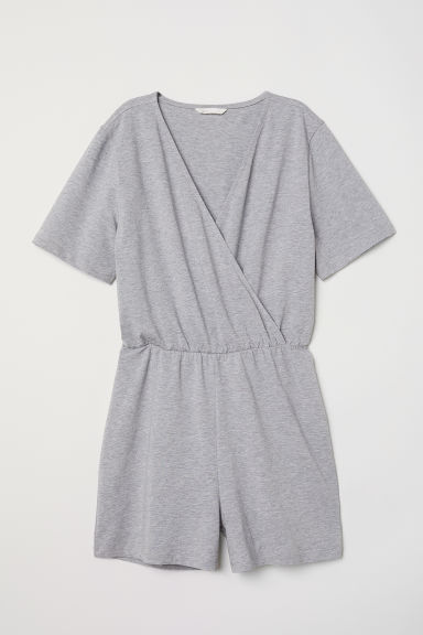Tuta corta in jersey - Grigio mélange -  | H&M IT