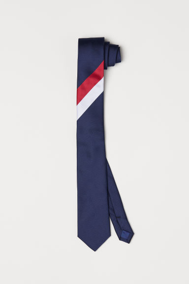 Striped tie - Dark blue - Men | H&M