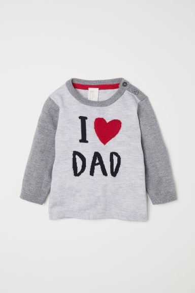 Fine-knit jumper - Light grey/I Love Dad - Kids | H&M