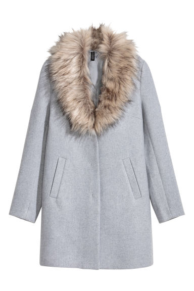 Coat with a faux fur collar - Grey -  | H&M IE