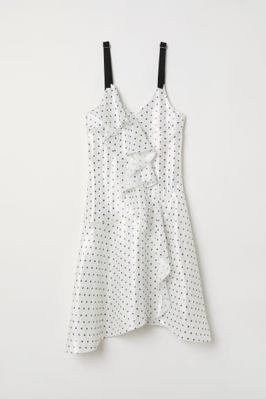 Silk-blend dress - White/Blue spotted - Ladies | H&M