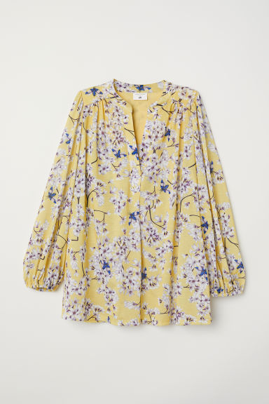 Patterned jersey top - Light yellow/Floral - Ladies | H&M