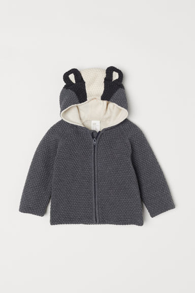 Textured-knit cardigan - Dark grey/Badger - Kids | H&M