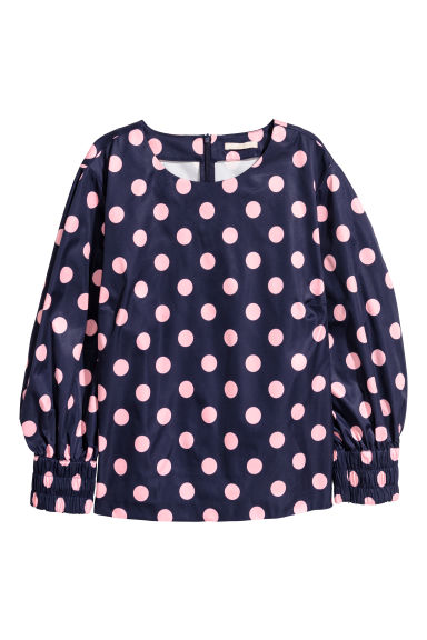 Top con maniche a palloncino - Blu scuro/rosa pois - DONNA | H&M IT