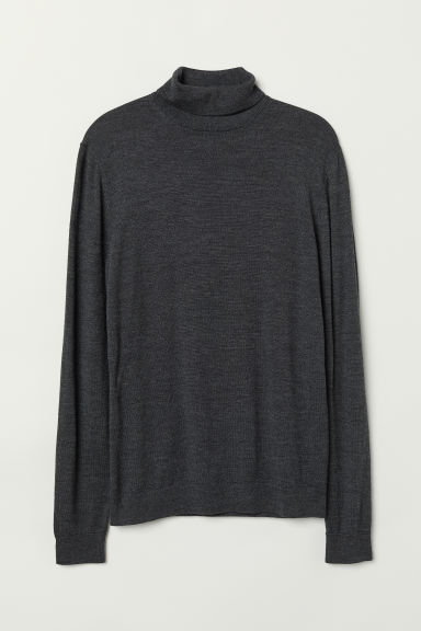 Merino wool polo-neck jumper - Dark grey marl - Men | H&M