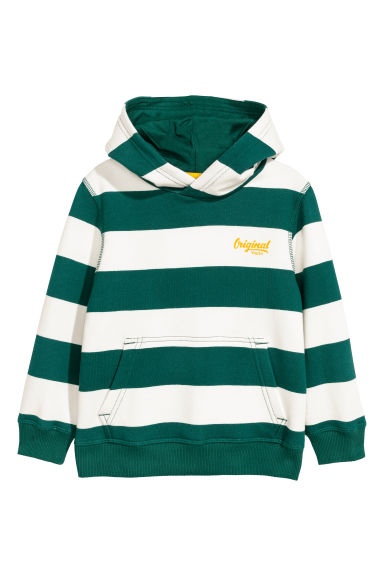 Hooded top - Dark green/White striped - Kids | H&M