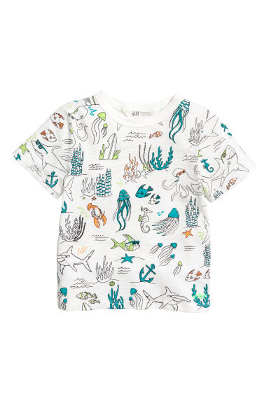Printed T-shirt - White/Fish -  | H&M