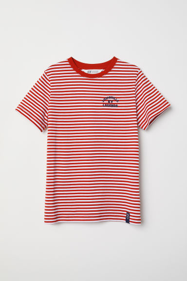 T-shirt with a chest pocket - Red/White striped - Kids | H&M