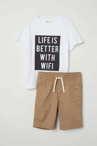 T-shirt and shorts - White/Wifi -  | H&M CN