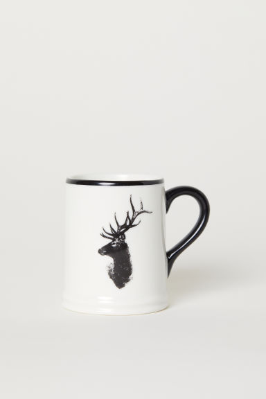 Small porcelain mug - White/Deer - Home All | H&M CN