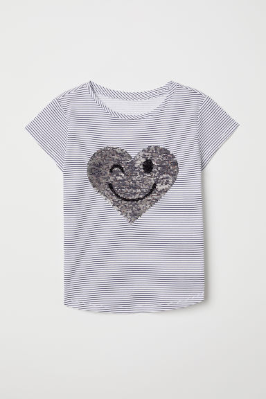 Top with reversible sequins - White/Dark blue striped - Kids | H&M
