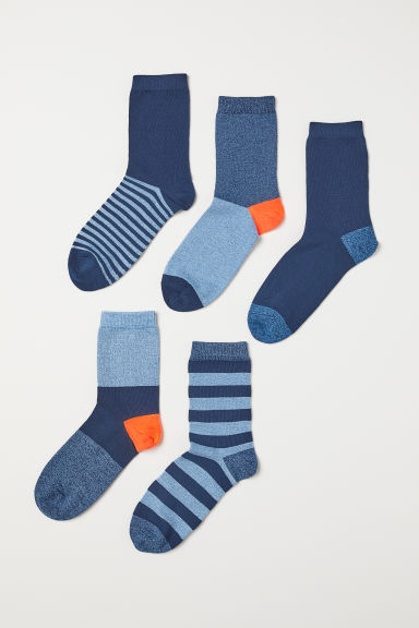 5-pack socks - Blue/Striped - Kids | H&M IE