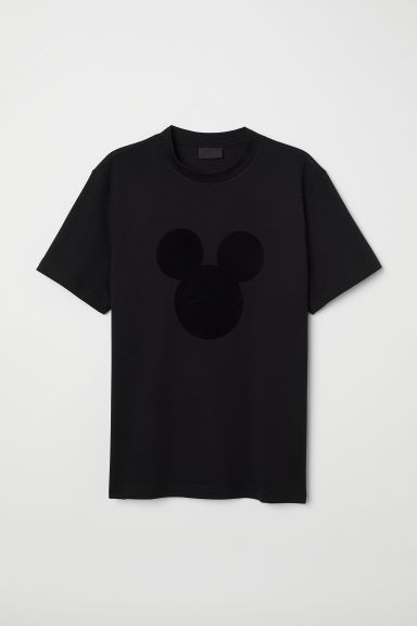 Flock-print T-shirt - Black/Mickey Mouse - Men | H&M CN